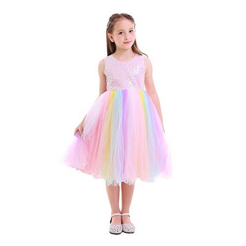 IWEMEK Baby Mädchen Einhorn Regenbogen Geburtstag Kleid Halloween Kostüm für Kinder Prinzessin Blumenmädchenkleid Hochzeit Festzug Weihnachten Karneval Ankleiden Cosplay 6-7 Jahre