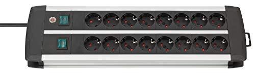 Brennenstuhl Premium-Alu-Line, Steckdosenleiste 16-fach - Steckerleiste aus hochwertigem Aluminium (mit 2 Schaltern für je 8 Steckdosen und 3m Kabel, Made in Germany) silber/schwarz