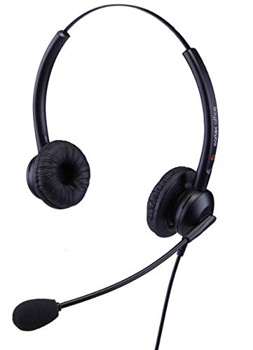 eartec Office Doppel-Ohr-Headset für Alcatel -Lucent IP 4028 EE,4029, 4038 EE,4039 & 4068 EE Voip-Telefone, inkl. 3,5 ml Klinkenkabel