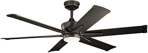 """Kichler 300300OZ Szeplo II 60"""" Outdoor Ceiling Fan with LED Light and Wall Control, Olde Bronze"""
