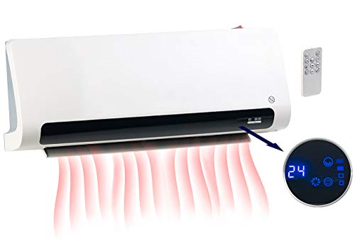 Carlo Milano Calentador de ventilador de pared: Termoventilador mural de diseño con termostato y oscilación, hasta 2200 vatios (ventilador de pared)