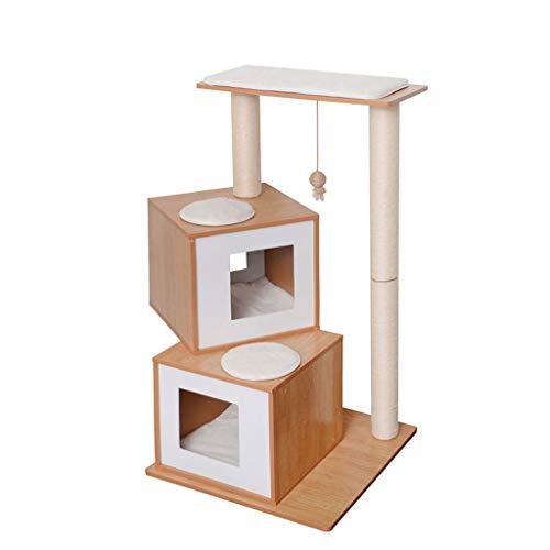 YBYB Katzenbaum Density Fiber Katze Turm Kratzbaum Multi-Layer-Sisal Cat Klettergerüst Katze Springen Plattform Cat Nest Pet Unterhaltung Katzen Kratzbaum (Color : Wood Color)