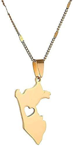 NC198 Collar Collar de Acero Inoxidable con Colgante de Tarjeta de Perú Collar con Mapa de Perú Collar de joyería de Cadena de corazón