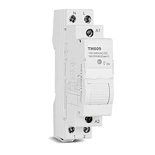 Smart Timer Interruptor inalámbrico WiFi Control remoto Memoria de la aplicación DIN RAIL 16A Diario semanal compatible con TM609