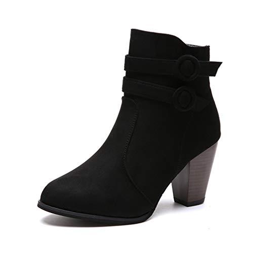 UMore Botas de Mujer Otoño Invierno 2021 Tacon Bajo Zapatos Largas Botas Forrado de Piel Antideslizante Cómodo Cremallera Hebilla