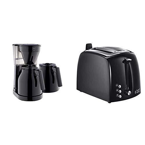 Melitta 1023-06 Easy Therm + 2 Kannen Filterkaffeemaschine, Kunststoff schwarz & Russell Hobbs Toaster Textures+, Brötchenaufsatz & integrierte Toast-Zange, 850W, Toaster schwarz 22601-56