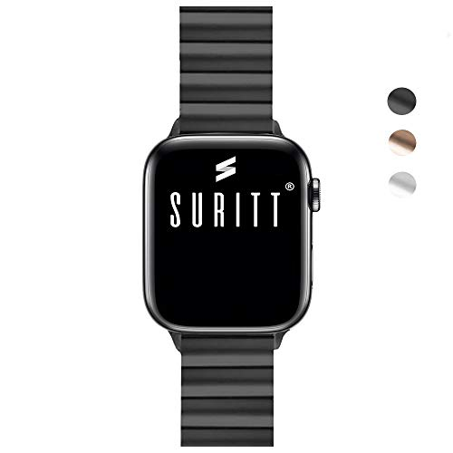 Suritt  Correa para Apple Watch de eslabones Fabricada en Acero Inoxidable Berlin (Negro - Plata - Oro)(Series 1, 2, 3, 4 y 5)(42mm / 44mm, Black)