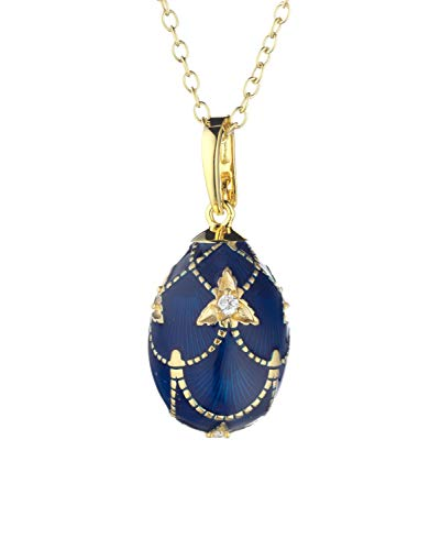 Tatiana Fabergé F003DB - Ciondolo da donna in argento sterling 925, con zirconi e smalto blu
