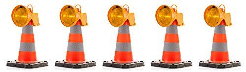 UvV CONY Synchron Leitkegel Aufsteck Warnleuchte Blinkleuchte gelb inkl. Leitkegel 50 cm - 2,5 kg Bigfoot Teilreflex (5)