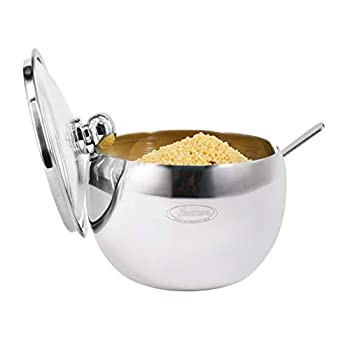 Newness Stainless Steel Sugar Bowl with Clear Lid for better recognition  and Sugar Spoon for Home and Kitchen Drum Shape 8.1 Ounces 240 Milliliter