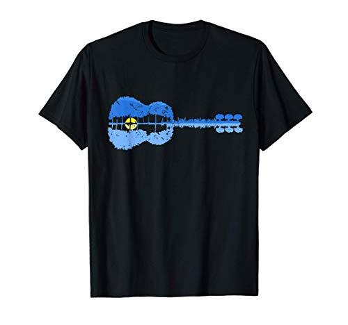 Acoustic Guitar Treeline T-Shirt Sunset Six String Guitar Gi Maglietta