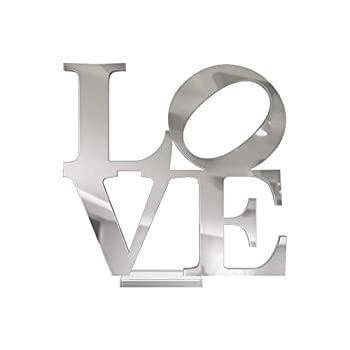 4ArtWorks - 3D Love Word Tabletop Art Décor  Silver Mirror Finish  for Dorm Rooms Living Spaces Bedrooms Modern Offices & Desks with Transparent Acrylic Base   Great Gift Idea  6x6x1 in