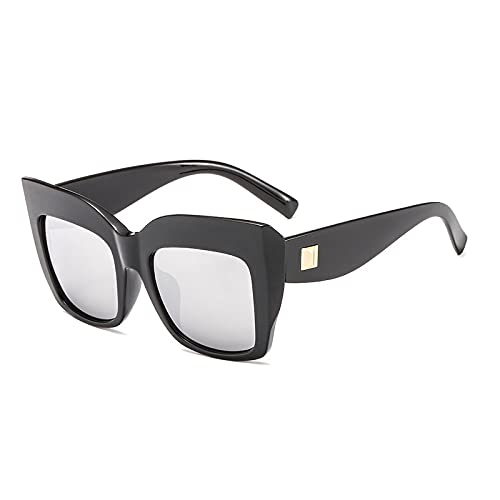 Gafas De Sol Gafas De Sol Cuadradas Vintage para Mujer Y Hombre, Montura Grande, Gafas De Sol Graduadas A La Moda, Gafas De Sol De Lujo para Mujer, Uv400 C2, Negro-Plata