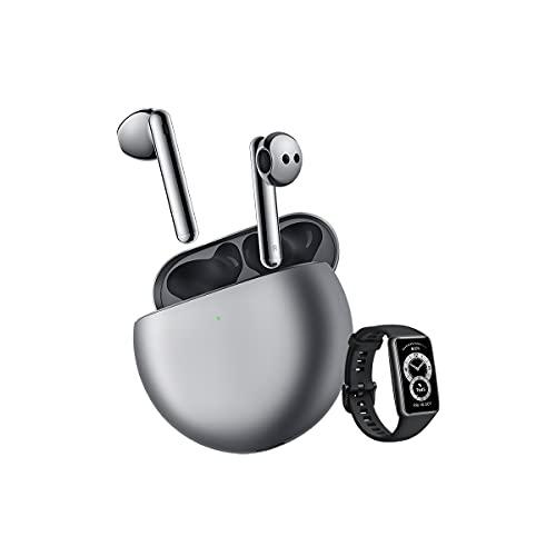 HUAWEI FreeBuds 4 + Band 6 - Cuffie wireless Bluetooth semi-interne, con cancellazione attiva del rumore, con triplo microfono e suono ad alta definizione, colore: argento
