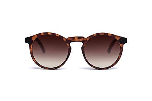 TAKE A SHOT – Schmale runde Holz-Sonnenbrille Damen, Holz-Bügel und Kunststoff-Rahmen, UV400 Schutz, rückentspiegelte Gläser - Emma