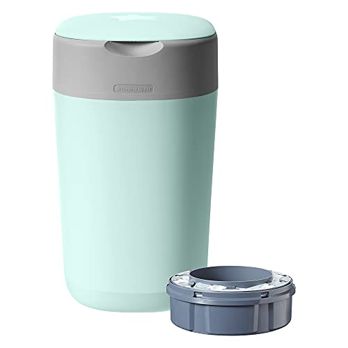 Tommee Tippee Twist and Click Advanced Nappy Bin, Eco-Friendlier System, Includes 1x Refill Cassette with Sustainably Sourced Antibacterial GREENFILM Green