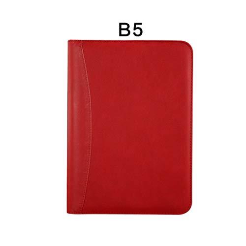 Cuaderno de tapa dura Papelería para notebook Hojas sueltas A5 Bolsa multifuncional con cremallera B5 para empresas Cuenta de mano Libreta portátil Office 200 Página Negro Cuaderno de diario rayado de