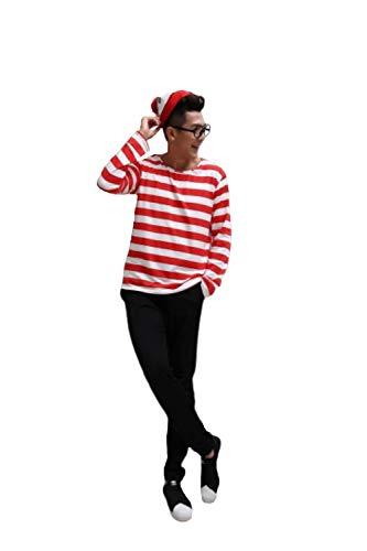 CosplayLife ¿Dónde está el Disfraz de Wally para Hombres, Mujeres y niños?Calcetines de Gafas de Camisa de Sombrero de Conjunto Completo |Viste a Halloween - - XL