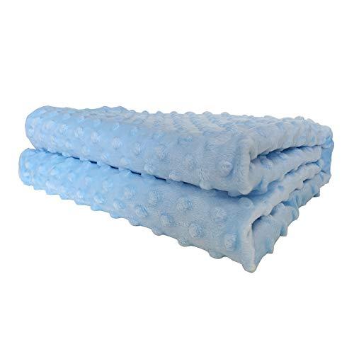 Babydecken Krabbeldecke 100% Bio Baumwolle Kuscheldecke für Kinderwagen weich flauschig Babydecke Mädchen Junge Creme Kuscheldecke Baby Erstlingsdecke Set 75x100cm, Blau
