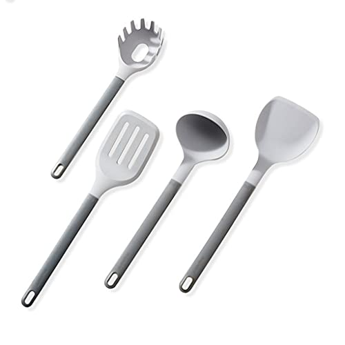 QIUDAN Silicona Espátula No-Stick Pan Temperatura Alta Temperatura Fried Shovel Home Shovel Spoon Cocina Traje Juego