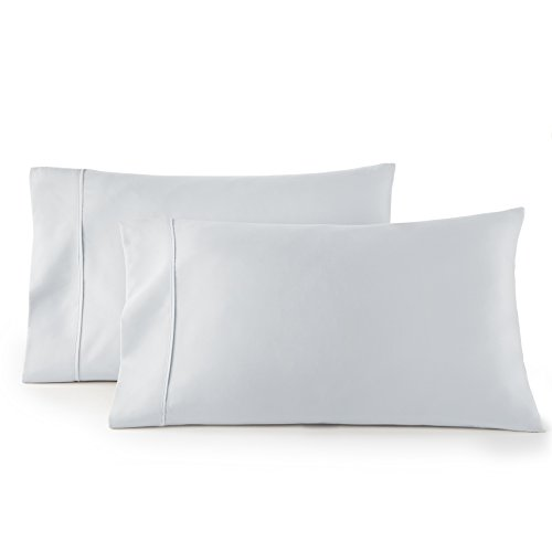 HC COLLECTION 1500 Thread Count Egyptian Quality 2pc Set of Pillow Cases, Silky Soft & Wrinkle Free (Fits Queen)- Standard Size/ Artic Ice Blue