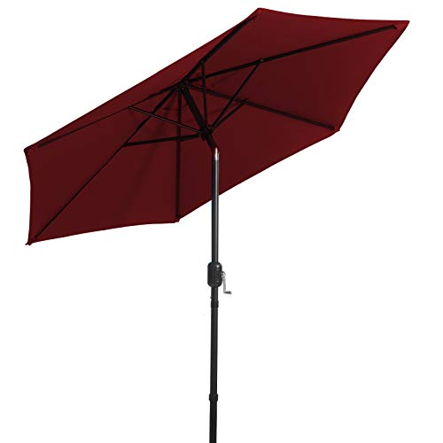 LOVE STORY Sombrilla Ø2.3M, Parasol abatible de 7.5 pies, Adecuado para balcón, terraza, Patio Trasero UV50 +,Vino Tinto