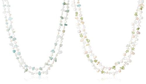 [ピュアパール] Pure Pearl 淡水パール&ペリドット&アクアマリン 2本組ロングネックレス ブルー クリッカー付き PPQ-010N-BL