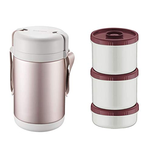 Boite isotherme repas chaud Thermo Alimentaire Thermos À Double Paroi Alimentaire Conteneurs Pot En Acier Inoxydable Alimentaire Leakproof Boîte À Lunch For Hot And Cold Alimentaire (Color : Gold)