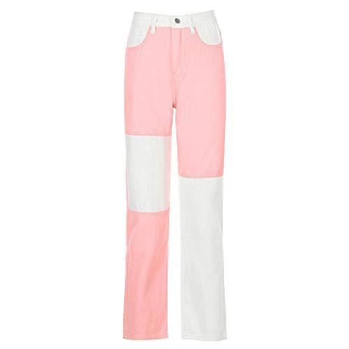 N\P Pantalones vaqueros para mujer, estilo vintage, recta, cintura delgada, pantalones largos, ropa de calle sueltos
