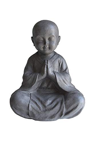 JIXIN Sitting Praying Buddha Statue 13.5' H