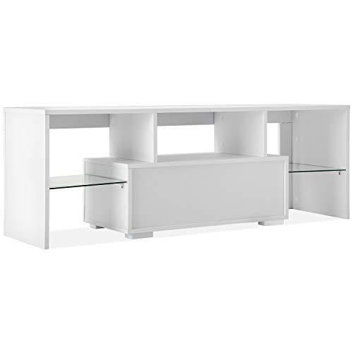 Mueble para sala de estar moderna de 51 pulgadas, 20 colores, con estante de cristal, gran espacio de almacenamiento