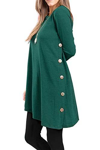 Ehpow Damen Langarm Pullover Kleid Rundhalsausschnitt Button Side Tunika T-Shirt Kleider (Large, Grün)