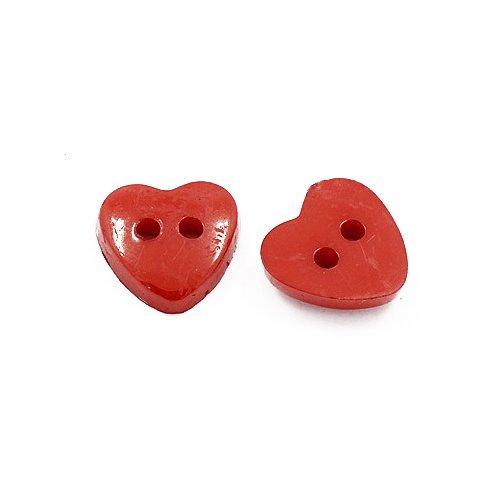 Acrylique Boutons Rouge Coeur 12mm 2-Trou Paquet De 50+