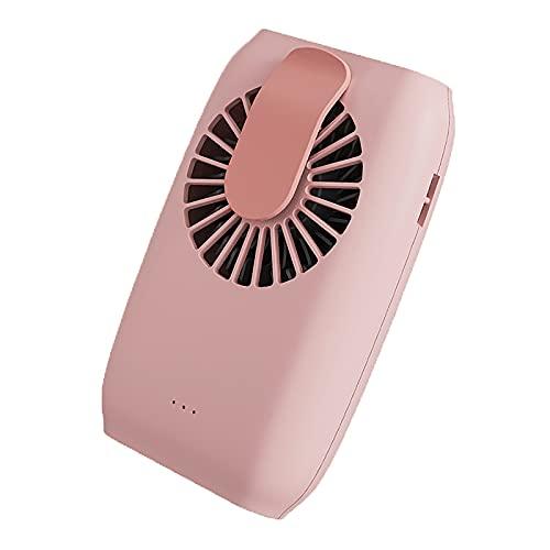 LABYSJ Mini Ventilador USB de Cuello, con Cuerda de muñeca y Cuerda de Cuello Colgante y Soporte, Banco de energía de Doble Uso Ajustable de 3 velocidades, para Viajes casa Pesca al Aire Libre,Rosado