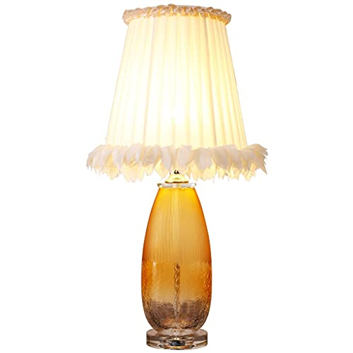 OMING Table Lamps Table Lamp Glass Crystal Table Lamp Bedroom Bedside Dimming Lamp Modern Creative Fabric Lampshade Decorative Lamp Living Room Study Lighting Crystal Table Lamp
