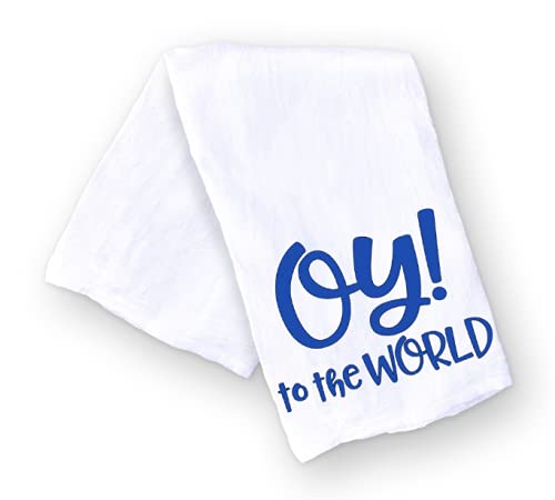 Oy to the World, Funny Handmade Kitchen Towel for Hanukkah, Jewish Gift for the Holidays