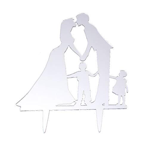 BESTOYARD Kuchen Topper Kuchendeckel Hochzeitspaar Brautpaar Kissen mit Kinder für Hochzeit Party Kuchen Dekor (Silber)