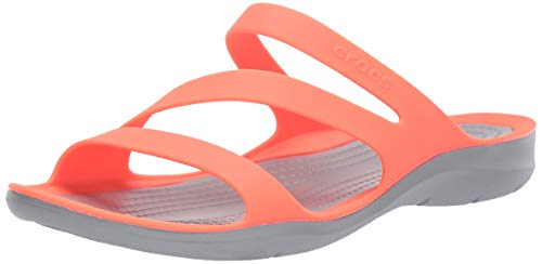 Crocs Damen Swiftwater Sandalen, Orange (Bright Coral/Light Grey 6pk), 41/42 EU