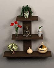 Dime Store Wall Shelf Shelves for Living Room Book Shelfs (3 Shelves) (Standard, Brown)