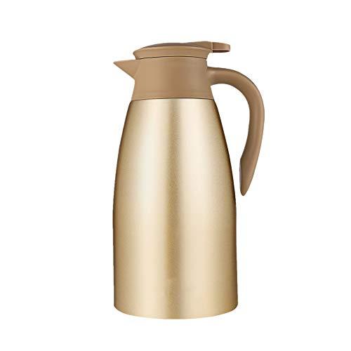 Ouqian-KT Thermoskannen Isolierkanne 304 Edelstahl Doppel-Wand-Isolierkanne Kaffeekanne Pot Isolations 2L Kaffee und Tee Carafes (Farbe : Gold, Size : 2L)
