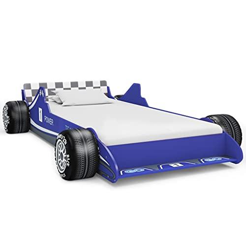 Barnsängar småbarn sängar barnens racerbil säng 90 x 200 cm blå
