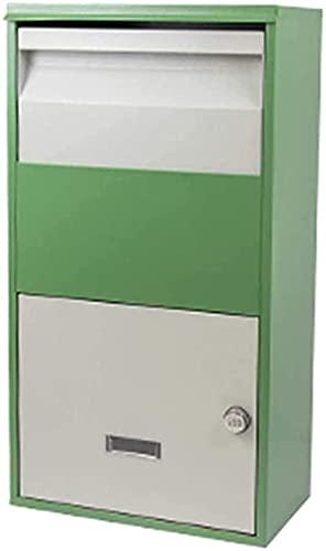 Stor paketdropplåda, vattentät säker säker leveranslåda, postlådor väggmonterad vattentät, få säkert leveranser när du inte är hemma, metalllösenordslås brevlåda-grön