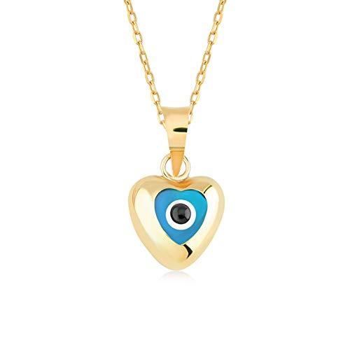 Gelin Damen Mädchen Herzkette aus 14 Karat - 585 Echt Gelbgold Goldanhänger Herz Enamel Stein Auge Amulett gegen den Bösen Blick, Eyeanhänger, Nazar Boncuk - Kette 45 cm
