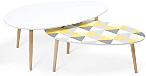 IDMarket - Lot de 2 Tables Basses gigognes laquées Blanc Motifs Blanc Jaune Gris