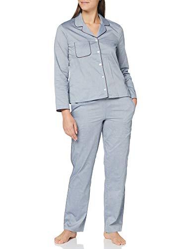Seidensticker Damen Women Pyjama Long Pyjamaset, Silber, 042