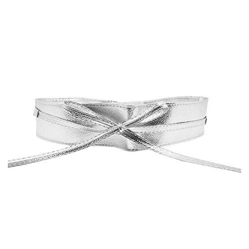 Cinturón de Cuero de Moda Cinturón Femenino Suave Cuero Ancho selvo Arco Nudo Corbata Envoltura Alrededor de la Banda de la Cintura. para Damas Vestido de niñas (Color : Silver)