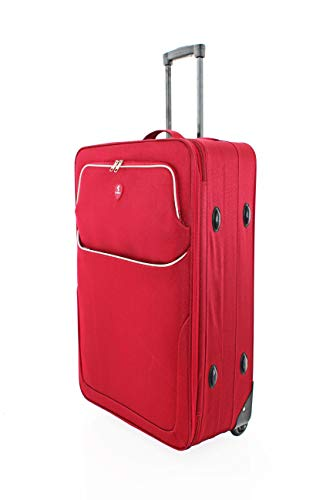"Large 29"" Super Lightweight 2 Wheeled Suitcase Trolley Luggage Hold Bag - U660 (RED)"