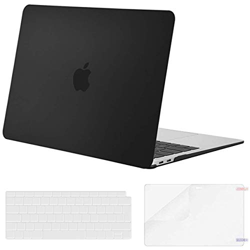 MOSISO MacBook Air 13 inch Case 2020 2019 2018 Release A2337 M1 A2179 A1932 with Retina, Plastic Hard Shell & Keyboard Cover & Screen Protector Only Compatible with MacBook Air 13 inch, Black