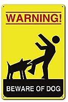 警告犬ヴィンテージスタイルメタルサインアイアン絵画屋内 & 屋外ホームバーコーヒーキッチン壁の装飾 8 × 12 インチに注意してください。