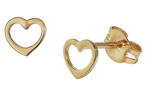 trendor Kinder Gold-Ohrringe Offenes Herz bezaubernder Ohrschmuck aus Echtgold für Kinder, wunderschöne Geschenkidee für Mädchen, verspielte Ohrstecker, 35818